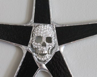 Sparkle Skull- 9 inch bony stained glass star