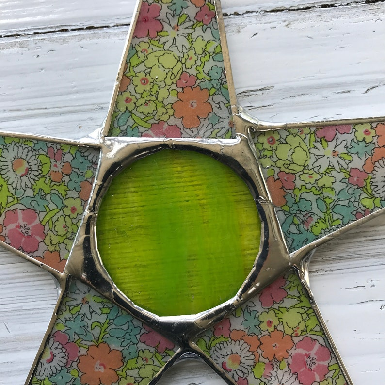 9.5 inch Liberty of London fabric lacquered under glass Charlotte star