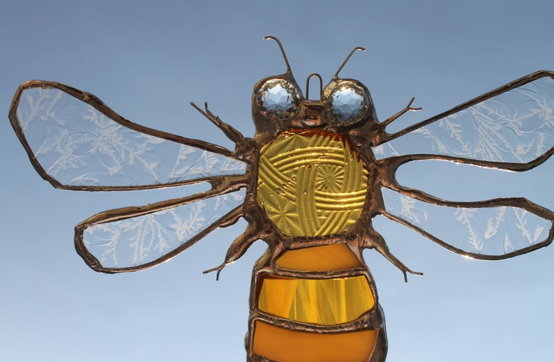 Honey Bee ornament stained glass bee sun catcher golden image 0