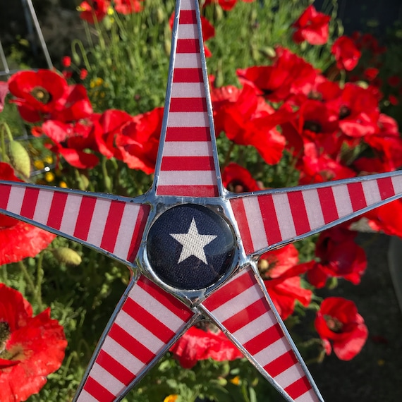 America Star- 9.5 inch lacquered fabric under glass star Perfect for 4th of July, Memorial Day, Veterans day decor