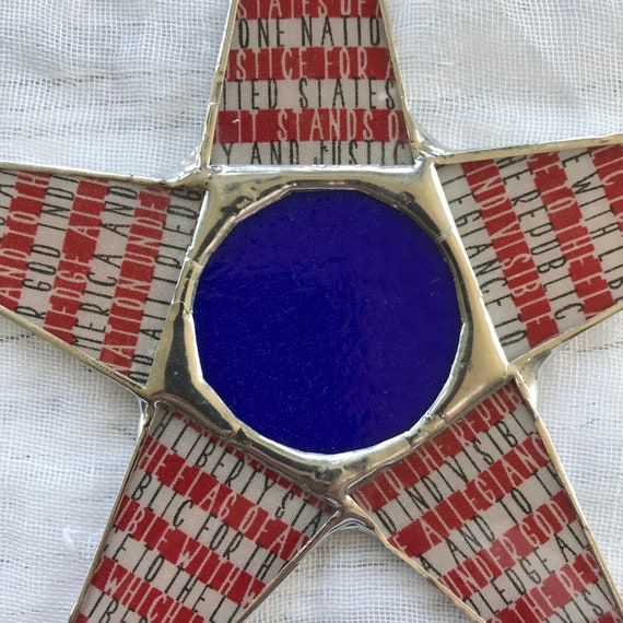 Pledge Allegiance Star- 10 inch patriotic star, 4th of July decoration, Independence day decor