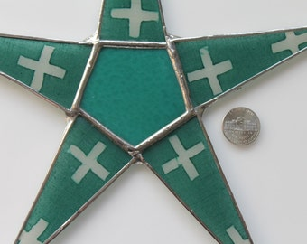 Teal Times Star- 9.5 inch lacquered fabric on glass points with teal art glass center