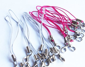20 strap gray pink lobster clasp cell phone strap charm Keyring