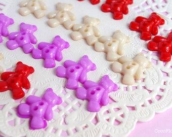 18 buttons bear shaped multicolored bear - 1.9 cm - 2 holes - teddy bear