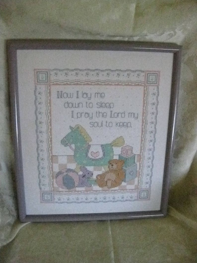 Framed Counted Cross Stitch Children Picture Now I Lay Me Down to Sleep,I Pray the Lord My Soul to Keep  #ER