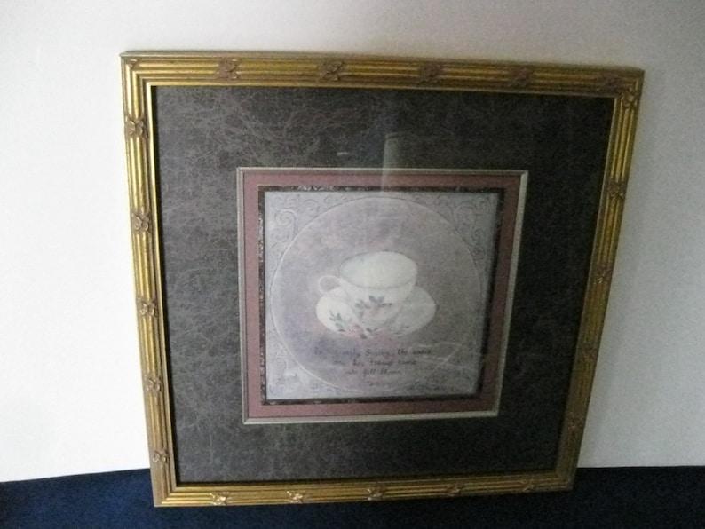 Hely Double Mat #ER Lovely Rose Teacup Gold Gilded Framed Still Life Print by Artist S