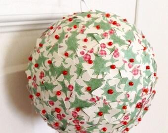 Christmas Ornament Paper Star Green Holly Berry Paper Kissing Ball Pomander Ball