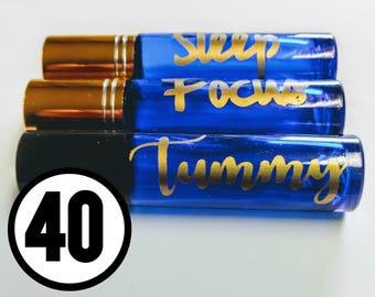 40 Labels for Essential Oil Roller Bottles (10 ml)