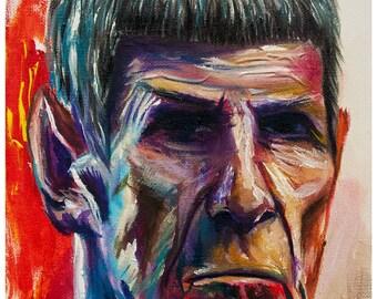 Old Spock from Star Trek sci fi art print 11x14