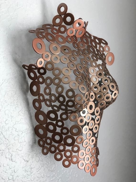 Metal Wall Art Sculpture Abstract Torso Rose Gold By Holly