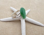 Kelly Green Sea Glass and Sterling Silver Ring