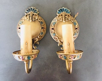 Art Nouveau Wall Sconces Vintage Pair Hubell Candlestick Electric Light  Fixtures