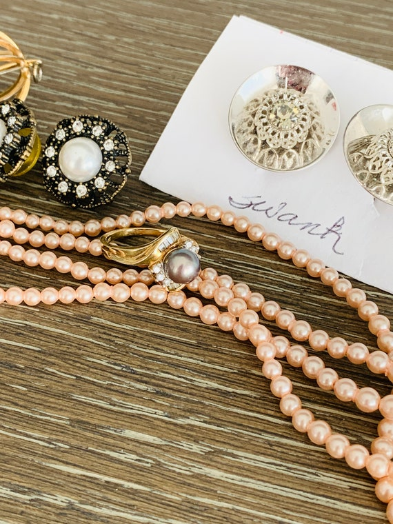 Vintage 10K Yellow Gold Black Gray Pearl And Diam… - image 7