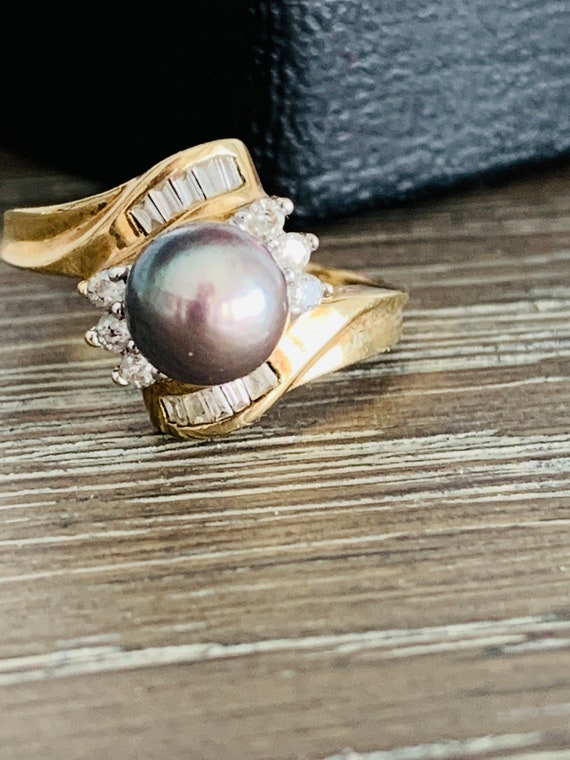 Vintage 10K Yellow Gold Black Gray Pearl And Diam… - image 5