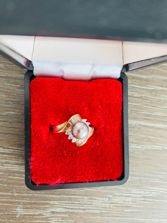 Vintage 10K Yellow Gold Black Gray Pearl And Diam… - image 2