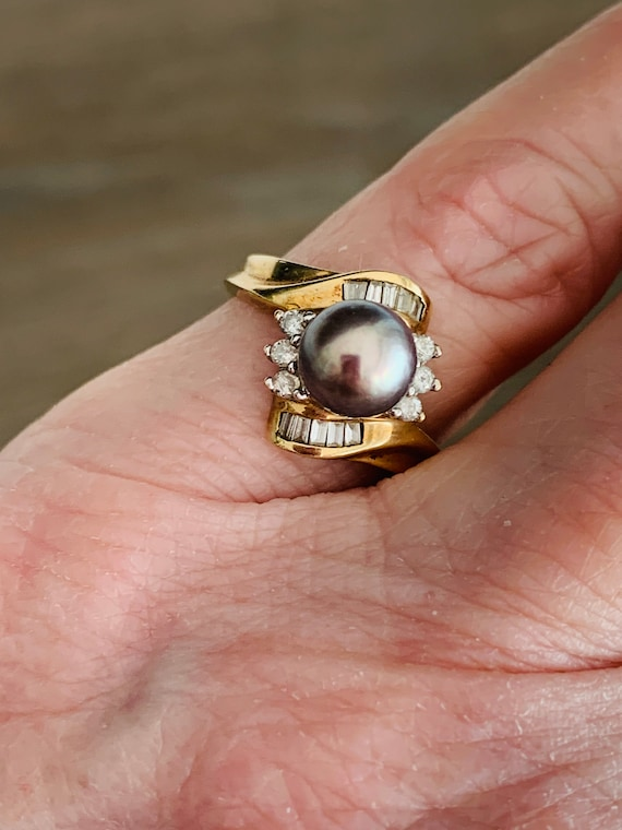 Vintage 10K Yellow Gold Black Gray Pearl And Diam… - image 6