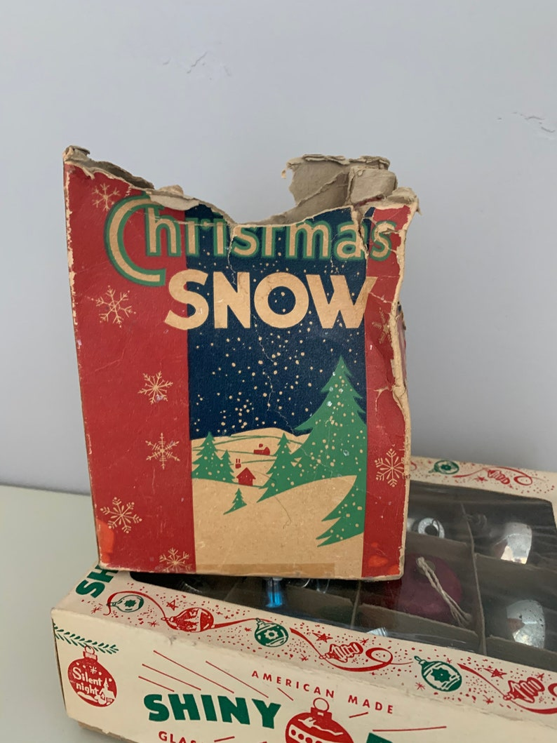 Box Christmas Snow Flakes Mica Fireproof Original Box SOLD AS IS