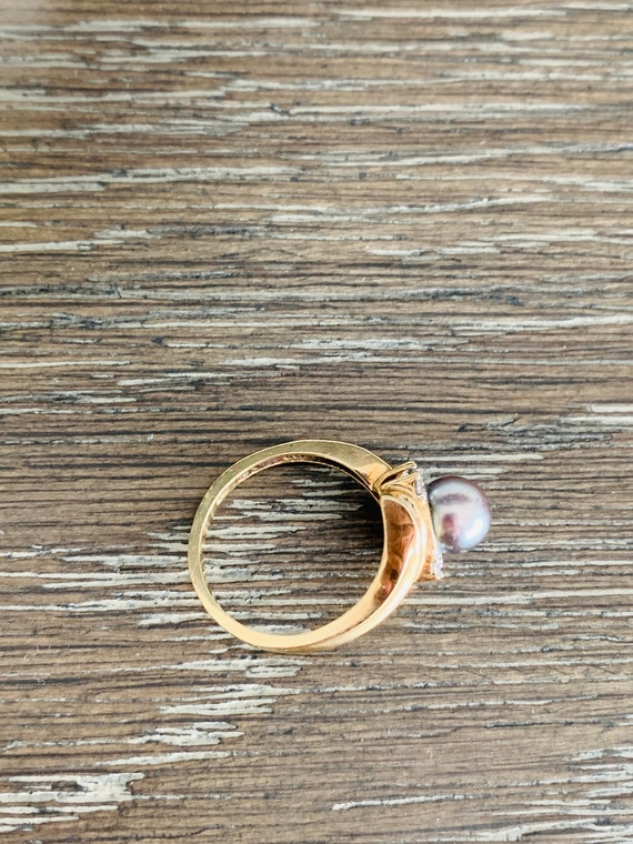Vintage 10K Yellow Gold Black Gray Pearl And Diam… - image 4