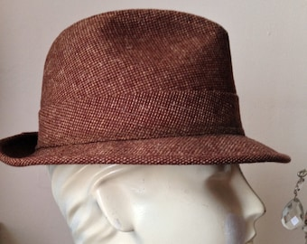 fc8e3f45ba792 60 s Mans Brown Wool Tweed Spy Fedora with Print Lining Size 7
