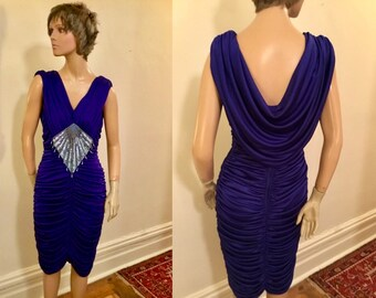 c24399655b8 Sale 80 s Abby Kent Purple cocktail dress with sequins and pearls