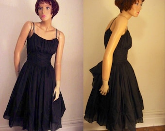 12d3a836b2b SALE 50s Black Silk Organza Rockabilly Prom party Dress