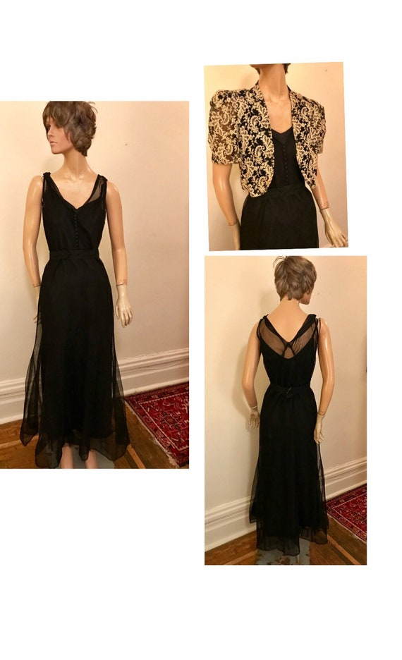 1940's black net formal dine and dance gown with l