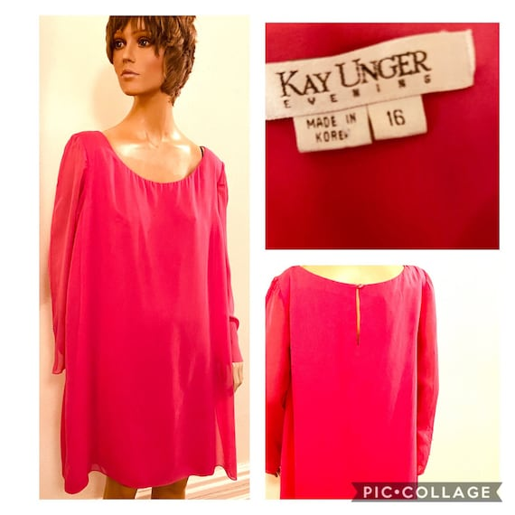 Kay Unger Magenta trapeze cocktail dress