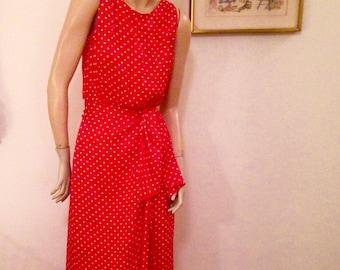 Red White Dot Silk Designer Dress by Ryan Scott made in Hong Kong