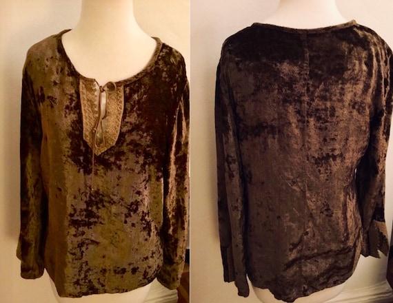 Vintage hippie browm crushed velvet shirt