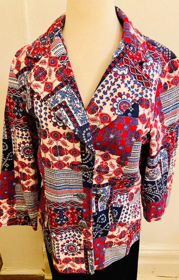 60's Cotton Bandanna Like Patchwork Print Ladies … - image 3
