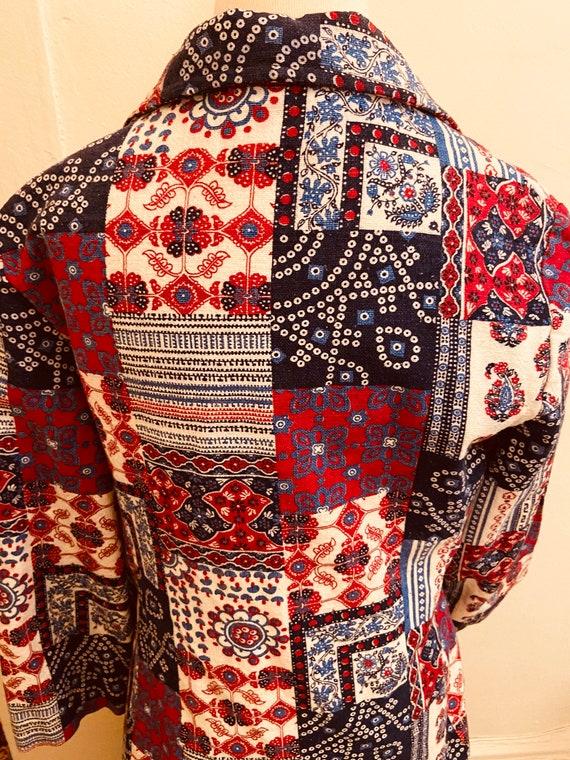 60's Cotton Bandanna Like Patchwork Print Ladies … - image 2