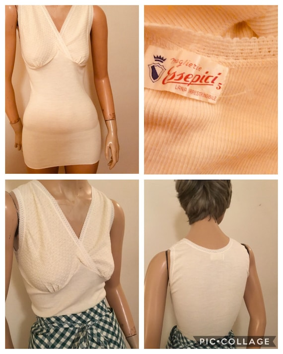 1930's Italian white wool knit women's underwear v