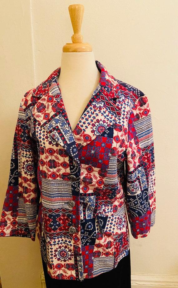 60's Cotton Bandanna Like Patchwork Print Ladies … - image 5