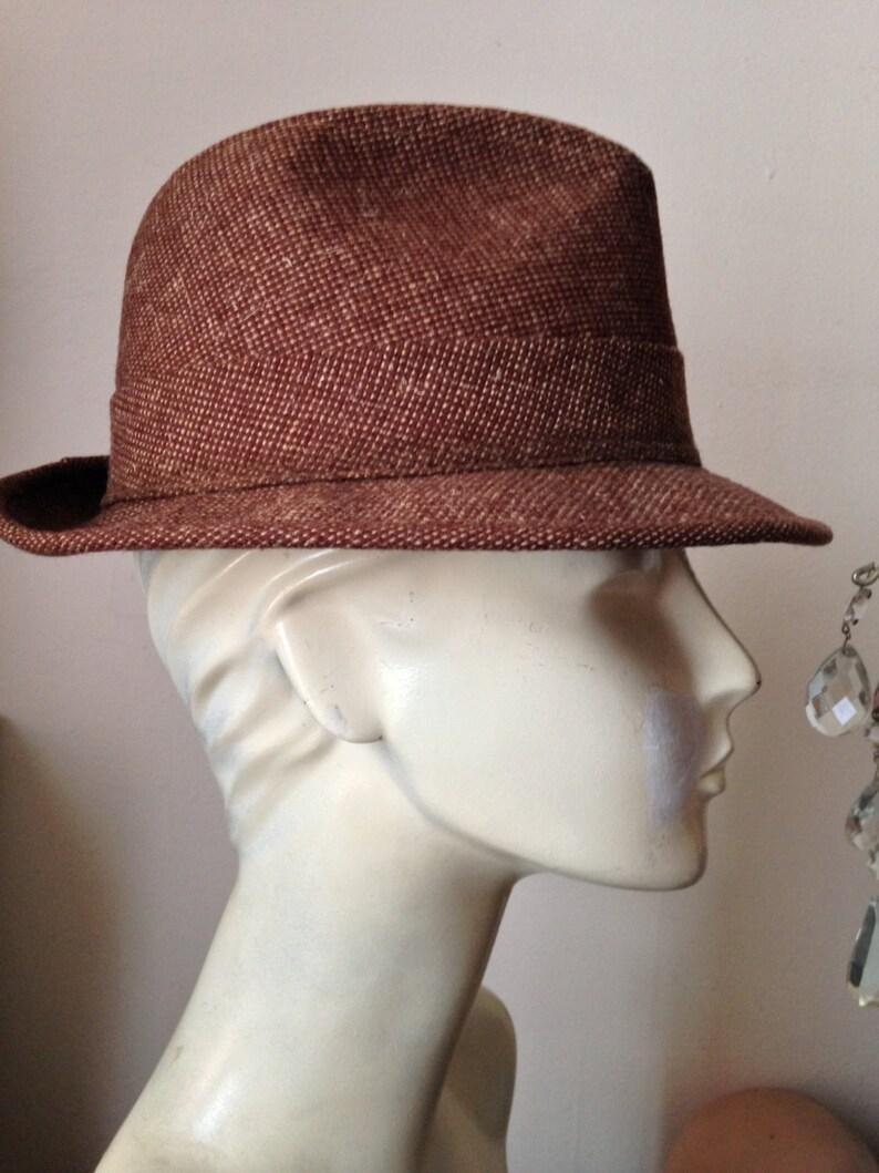 023f97a93b586 60 s Mans Brown Wool Tweed Spy Fedora with Print Lining
