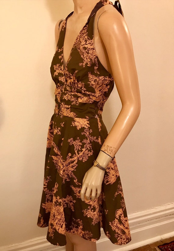 Vintage Style Romantic Toile  Brown and Pink Cott… - image 4