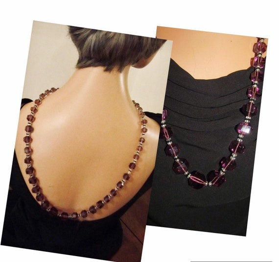 20's Amethyst Crystal Flapper Rope Necklace