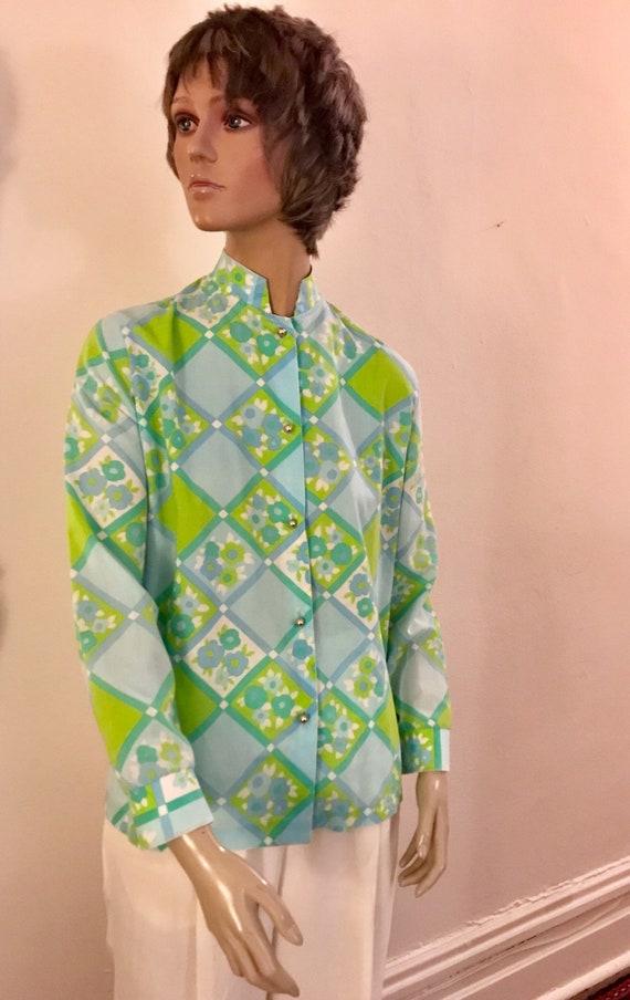 60's Nehru poly windowpane floral pastel blouse