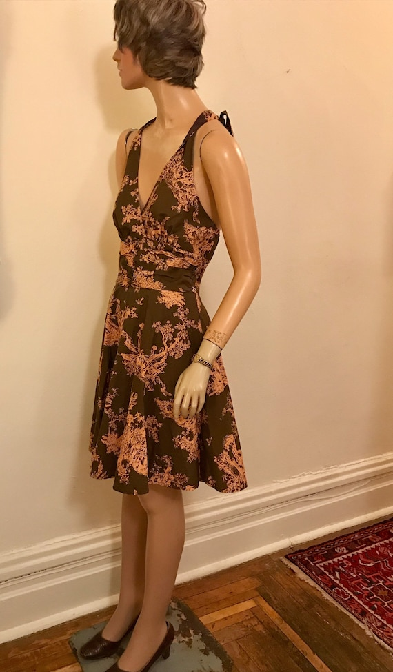 Vintage Style Romantic Toile  Brown and Pink Cott… - image 5