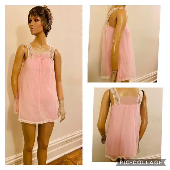 Pretty Pink kitsch mid-century Baby Doll Nightie