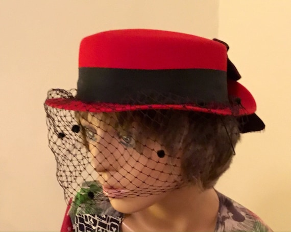 40's Red Hat With a Black Veil