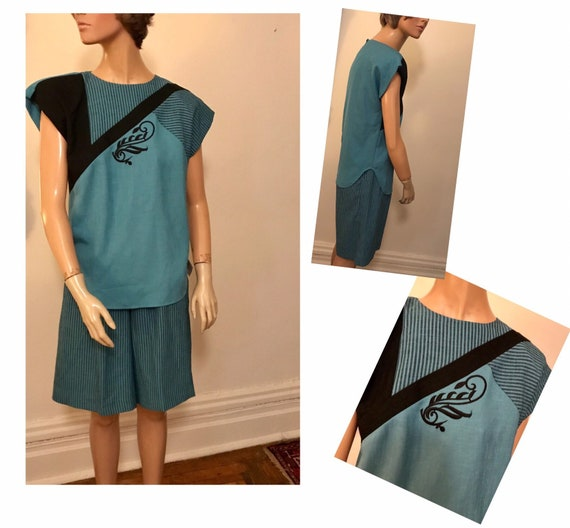 90's turquoise and black culotte and top