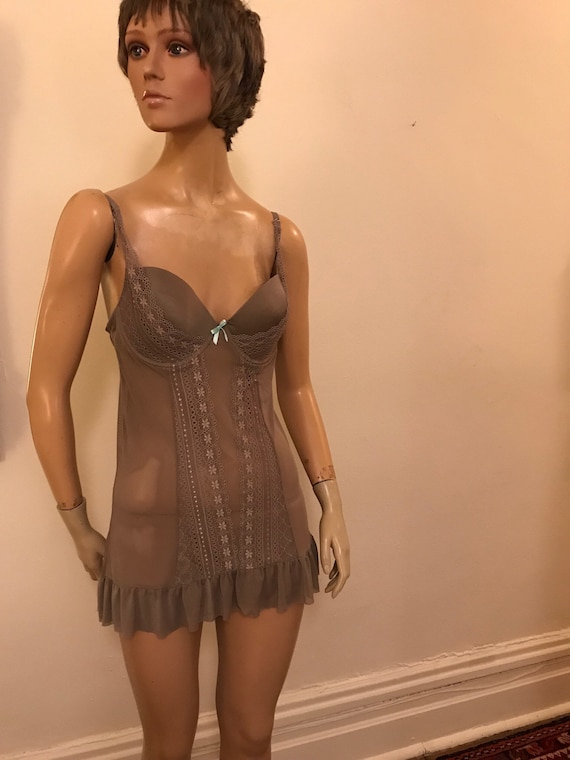 Cocoa brown netted chemise with built in bra size large
