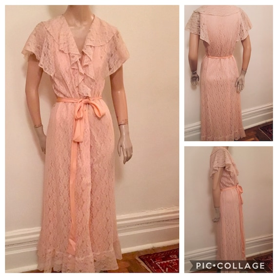 1940's Peach Lace Dressing Gown,silver screen robe