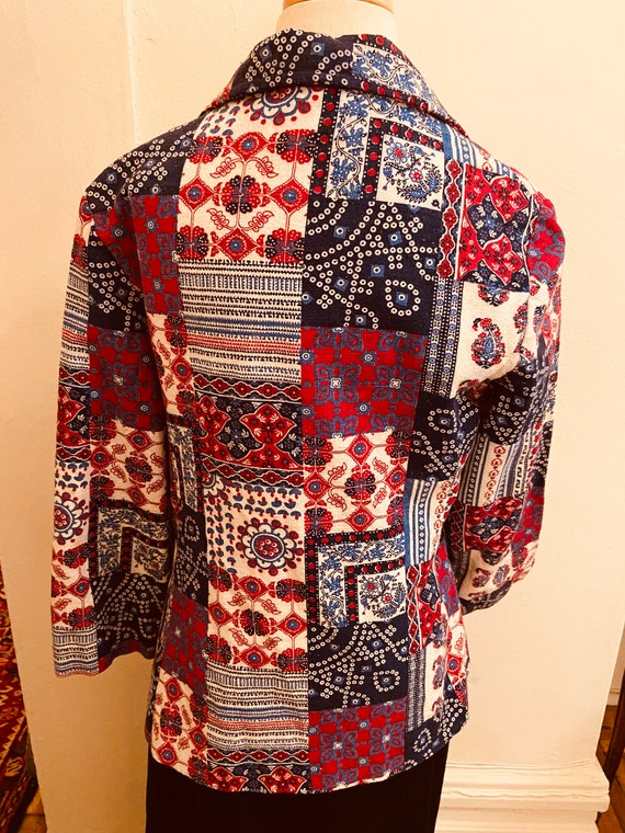 60's Cotton Bandanna Like Patchwork Print Ladies … - image 4