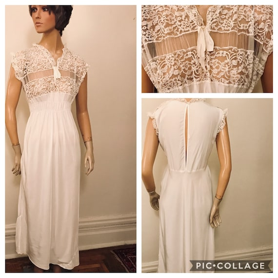 50's white rayon and lace night gown