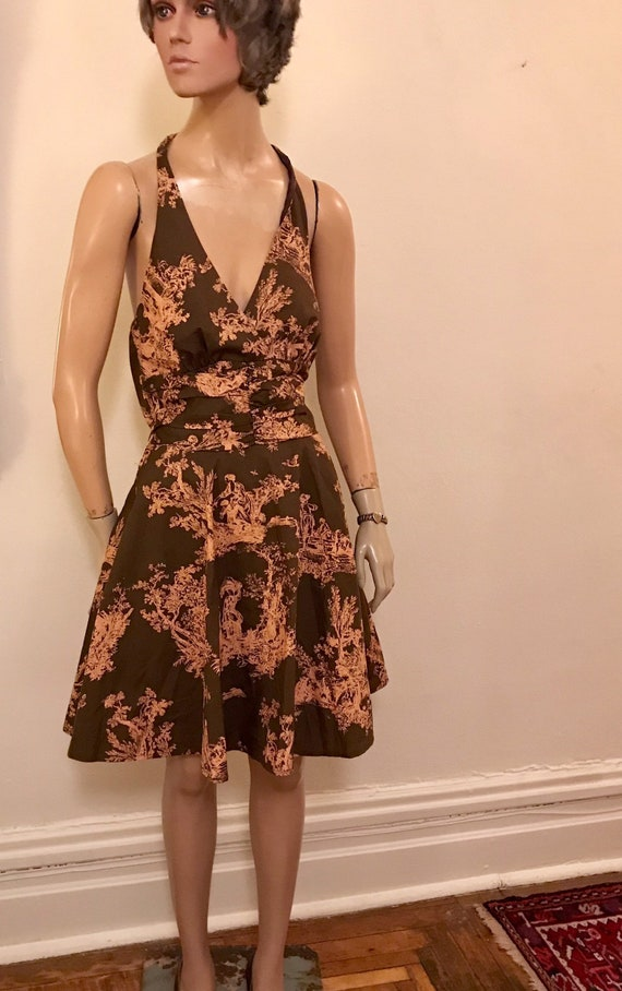 Vintage Style Romantic Toile  Brown and Pink Cott… - image 7
