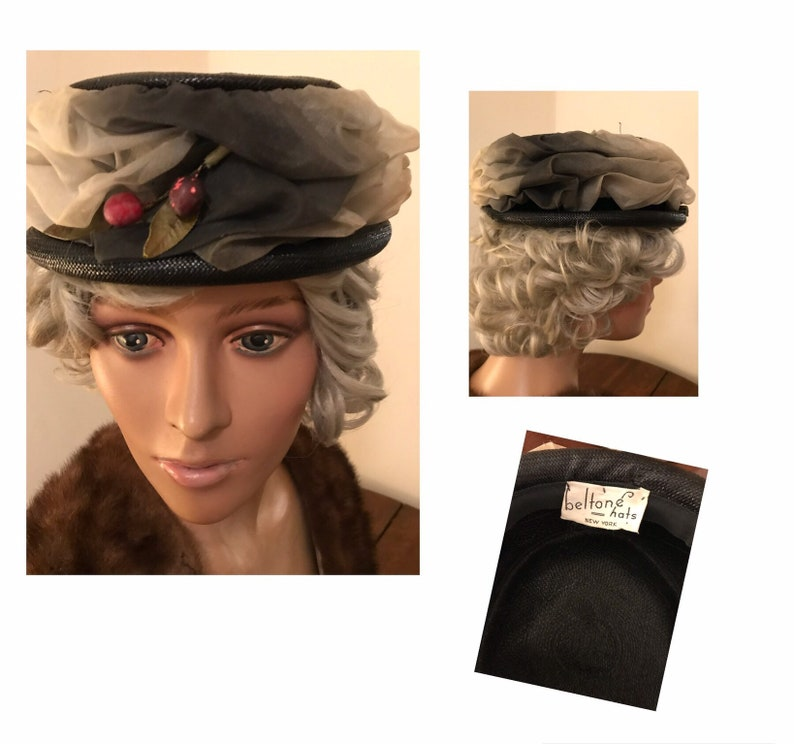ec913886697e1 50 s black summer weight black straw pillbox dress hat