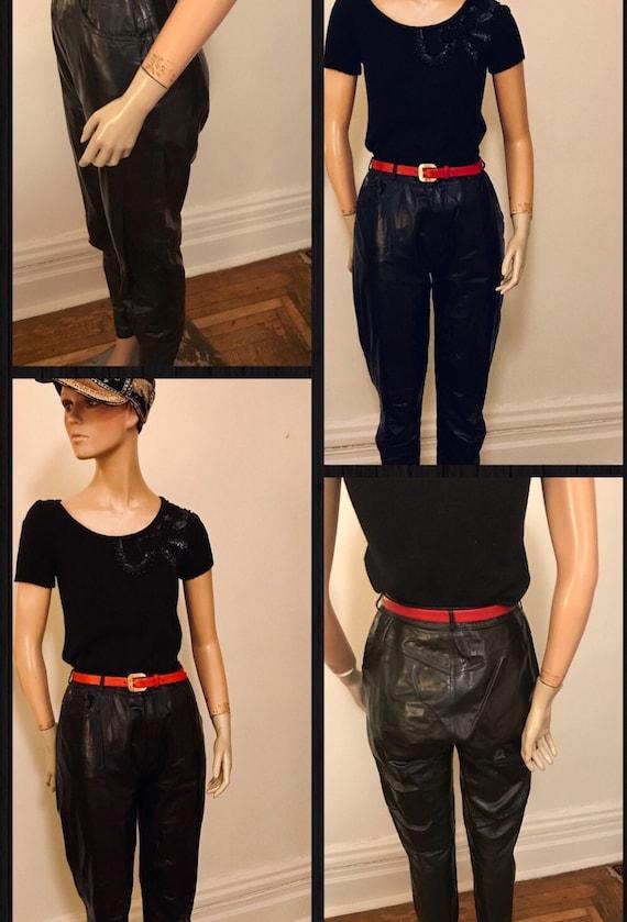 Groovy 80's black leather high waisted pants