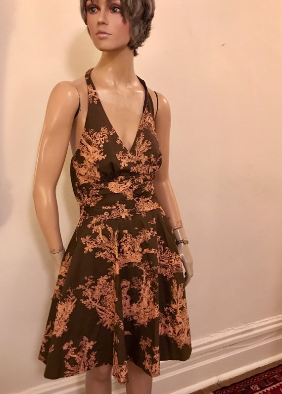 Vintage Style Romantic Toile  Brown and Pink Cott… - image 6