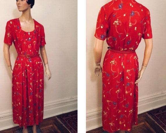 Vintage red floral rayon crepe dress large
